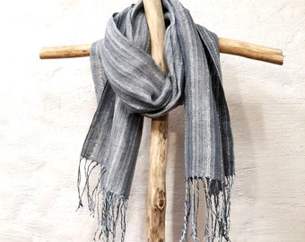 Hand Woven Linen Scarf Grey Blue Scarf Gift for Men for women