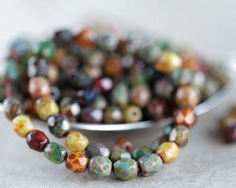 4mm Picasso Czech glass fire polished bead mix, Czech glass beads,  glass faceted beads (100pcs) NEW