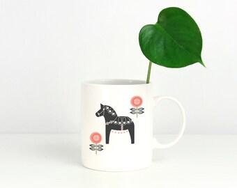 Gray and Coral Floral Dala Horse Mug