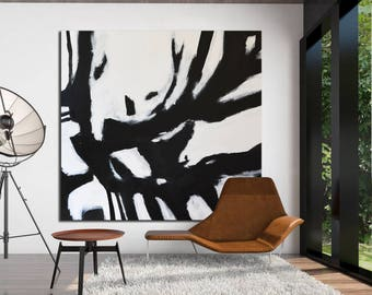 Large Abstract Painting Black and White Minimal Art, black and white original painting, painting on Canvas, Acrylic Painting, handmade