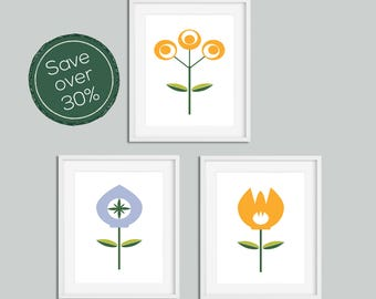 Wall Art Print, Set of Prints, Flower Print, Minimalist Print, Modern Art, Scandinavian Print, Prints, Minimalist Art, Art Set, Modern Print
