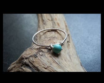 Fine turquoise and sterling silver ring genuine handmade creation size 55