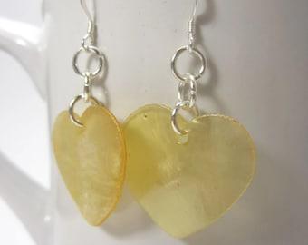 Yellow Capoiz Shell Heart Earrings