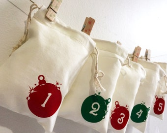 10% Off- 4x6 Muslin Bag Advent Calendar- Red and Green Shiny Ornament- Kids Christmas- Christmas Countdown