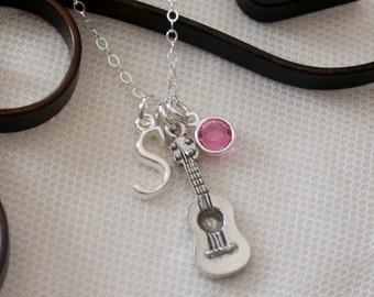 Guitar Necklace, Guitar Player Necklace, Personalized Guitar Necklace, Letter Birthstone necklace, Music Necklace, Guitarist Necklace, CLCB