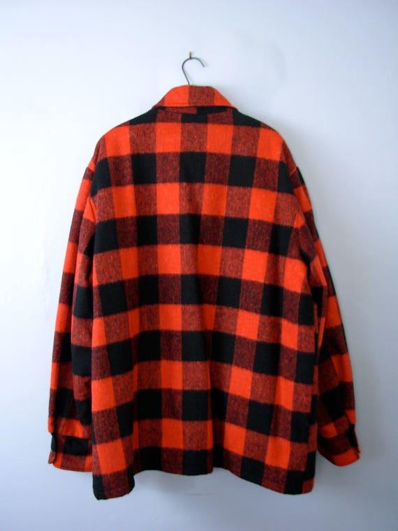 Vintage 50's apple cider plaid jacket, lumberjack flannel coat with sherpa lining, men's size medium