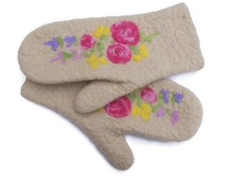 Felted Mittens Merino Wool sand