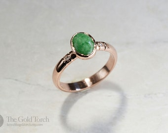 Stacking Ring, Oval Jade and Diamond Gold or Platinum 3mm Stackable Ring