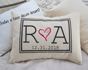 Valentine gift, Personalized Couples, 2nd anniversary,  romantic 2 year gift, monogram, Cotton anniversary, gift for her, gift for him 2
