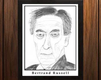 Bertrand Russell - Sketch Print - 8.5x11 inches - Black and White - Pen - Caricature Poster
