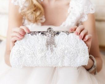 White bridal clutch, wedding clutch, ivory bridal clutch, lace pearl bridal clutch, beaded bridal clutch, wedding purse, rhinestone clutch