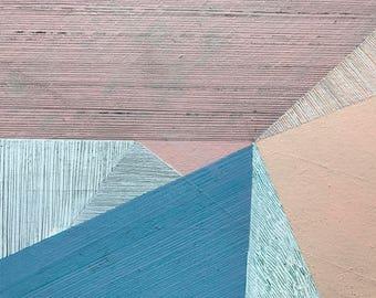 "Original polygonal painting, acrylic on canvas ""Emotional Landscapes XVI."" by Paulina Varregn"