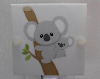 "Koala Mom and Baby Night Light Hanging from a Tree Gray and Brown 4"" Square Hand Made with LED Bulb Free Shipping"