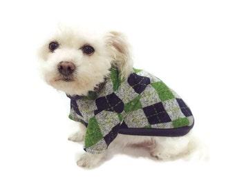 Navy and Lime Argyle Dog Sweater-Argyle Dog Sweater - Dog Clothes - Dog Clothing - Dog Apparel - Pet Clothes - Shirts for Dogs -Dog Shirts