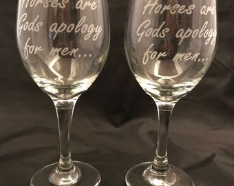 2 funny horse lovers wine glasses