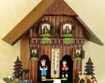 Germany Black Forest-weather houses- Original Schwarzwald- Wetterhaus 20 cm - Mann/Frau- Holzfiguren