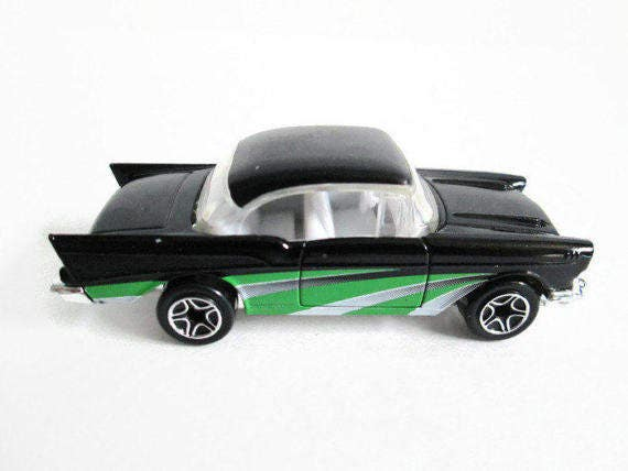 Black 57 Chevy Matchbox Car, 1957 Chevrolet Hard Top, Green Gray Racing  Stripes, Vintage Toy