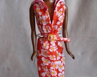 Vintage Barbie Best Buy Red Floral Dress with Sailor Collar, and Belt