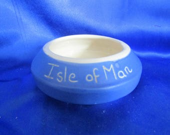 Vintage Souvenir Blue Devon Ware Sugar Bowl 'Isle of Man' by Devonmoor, Made in England