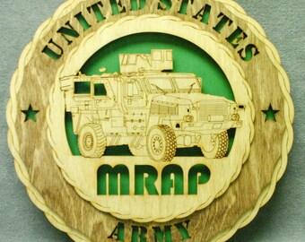 "Custom 12"" Wood US Army MRAP Wall Tribute - FREE Shipping"