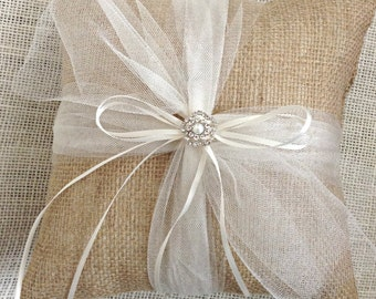 Burlap Ring Bearer Pillow, Burlap Ring Pillow, Wedding Ring Pillow, Ring Bearer Pillow, Rustic Glam Ring Pillow, Rustic Luxe RIng Pillow