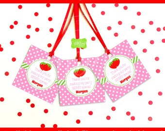 Strawberry Favor Tags - Strawberry Thank You Tags - Strawberry Gift Tags - Berry Sweet - Digtal & Printed