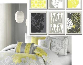 Decorative Arts Digital Illustration Yellow Greys White Wall Art Vintage / Modern Inspired -Set of 6 - 5x7 Prints -  (UNFRAMED)