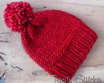 Knit Pom Pom Hat Red Merino Super Bulky Ready To Ship Free Shipping