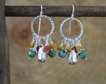 Antiqued Silver and Czech Glass Dangling Spiral Hoop Boho Style Sterling Silver Earwire Earrings