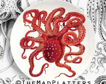 red octopus plate