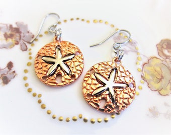 Sand Dollar Starfish Ocean Earrings Silver on Copper Charm