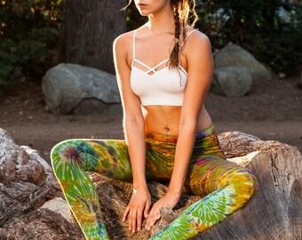 Tie Dye Leggings, Tie Dye, Yoga Leggings, Boho Leggings Women, Tie Dye Clothing, Tie Dye Pants, Burning Man Leggings, Women's Yoga Leggings