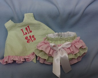 Birthday outfit Lime Green Seersucker Sassy ruffle pinafore top with Sassy ruffle Bloomer or Long Sassy Ruffle Pants  Any color avaiable