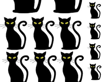 Black Cat Stare - Ceramic Waterslide Decal - Enamel Decal - Fusible Decal - 85116