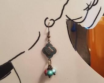 Earrings  Aqua Corral Glass