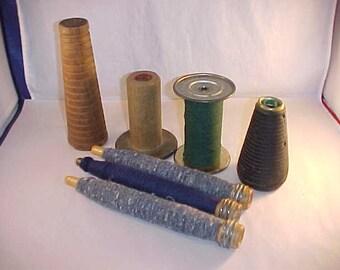 7 Textile Wood Spools