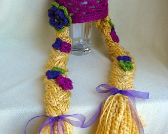 Rapunzel Hat - Tangled Hair Beanie with Flowers - Hat with Golden Blond Braids