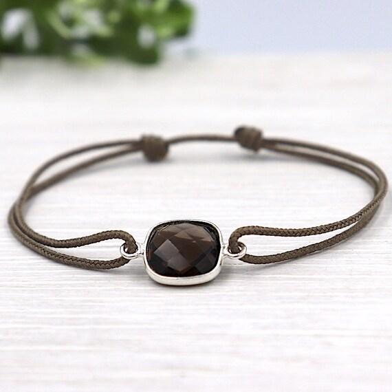 cord set smoky quartz gem stone bracelet
