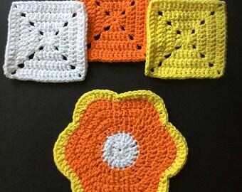 Citrus Trivets, Lemon, Orange, Crochet, Flower Power, Handmade, 100% Cotton, Made in CA