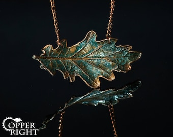 Woodland bar necklace Oak leaf copper necklace Gift to myself Unusual Blue bohemian necklace Oak copper pendant Women gift nature jewelry
