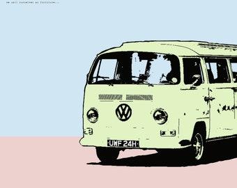 Summer Daze: VW Bus Digital Print with light blue and light pink background