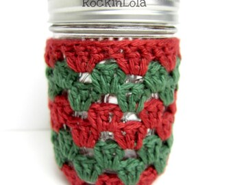 christmas mason jar cozy - christmas cozy - holiday cozy -mason jar sleeve - half pint 8oz - pint 16oz - quart 32oz - handmade by RockinLola