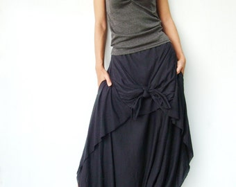 NO.86 Black Cotton-Blend Jersey Cool Unique Asymmetric Casual Loose Novelty Harem Pants, Trendy Unusual Trousers