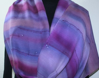 Purple Lavender Hand Painted Silk Wool Shawl ARIZONA DAWN, by Silk Scarves Colorado. Select Your SIZE! Elegant Silk Gift, Birthday Gift