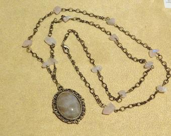 Rose Quarts Pendant Necklace