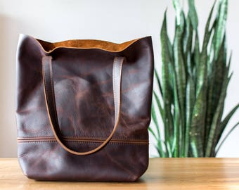 brown leather tote | every day bag leather | gift for wife | cowhide leather tote | leather shopper | carry all bag tote | oversized bag