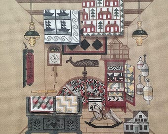 ATTIC QUILTS Kingsland No. 8 1990 Vintage Counted Cross Stitch Chart Pattern Leaflet Booklet Pamphlet