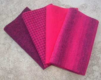 """Hand Dyed Felted Wool, MAGENTA, Four 6.5"""" x 16"""" pieces in Hot Cherry Red"""