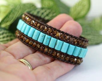 3 Row Cuff Bracelet, Turquoise Blue, Brown, Bronze Star, Beaded Bracelet, Rustic, Boho Leather Jewelry, Gemstone Bracelet, Leather Wrap Cuff