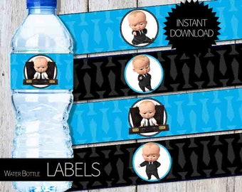 BOSS Baby Birthday Party PRINTABLE Water Bottle LABELS- Instant Download | DreamWorks | The Boss Baby Movie